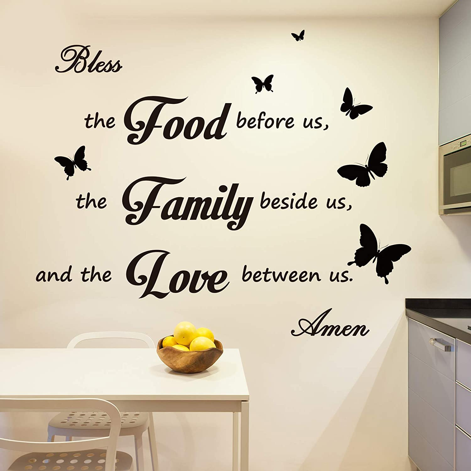 Outus Dinner Prayer Wall Decor Decal Meal Prayer Wall Decor Kitchen Prayer Stickers Bless The Food Before Us Sign Wall Sticker Quote Decal Stickers for Home Decorations Kitchen Dining Room