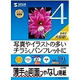 コピー用紙 A4 薄手 100枚 インクジェット用両面印刷紙 JP-ERV4NA4N-100