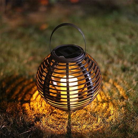 Farolillo solar para colgar al aire libre, GFEU LED impermeable redondo de ratán con energía solar, vela de jardín, decoración para jardín, patio, terraza y escalera: Amazon.es: Iluminación
