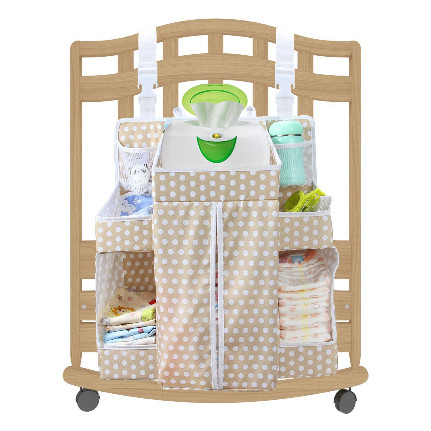Biubee Baby Large Diaper Nursery Hanging Organizer - Changing Table Organizer Diaper Caddy Storage Fits any Size Rails(brown)