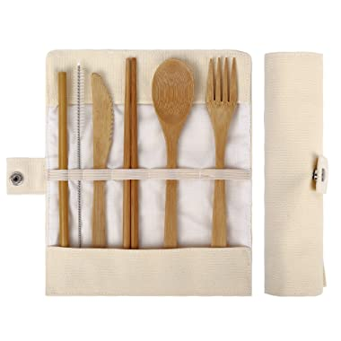 Bamboo Utensils | Bamboo Travel Utensils | Eco Friendly Flatware Set | Knife, Fork, Spoon, Reusable Straws and Chopsticks | Camping Utensils Set | Portable Utensils Set