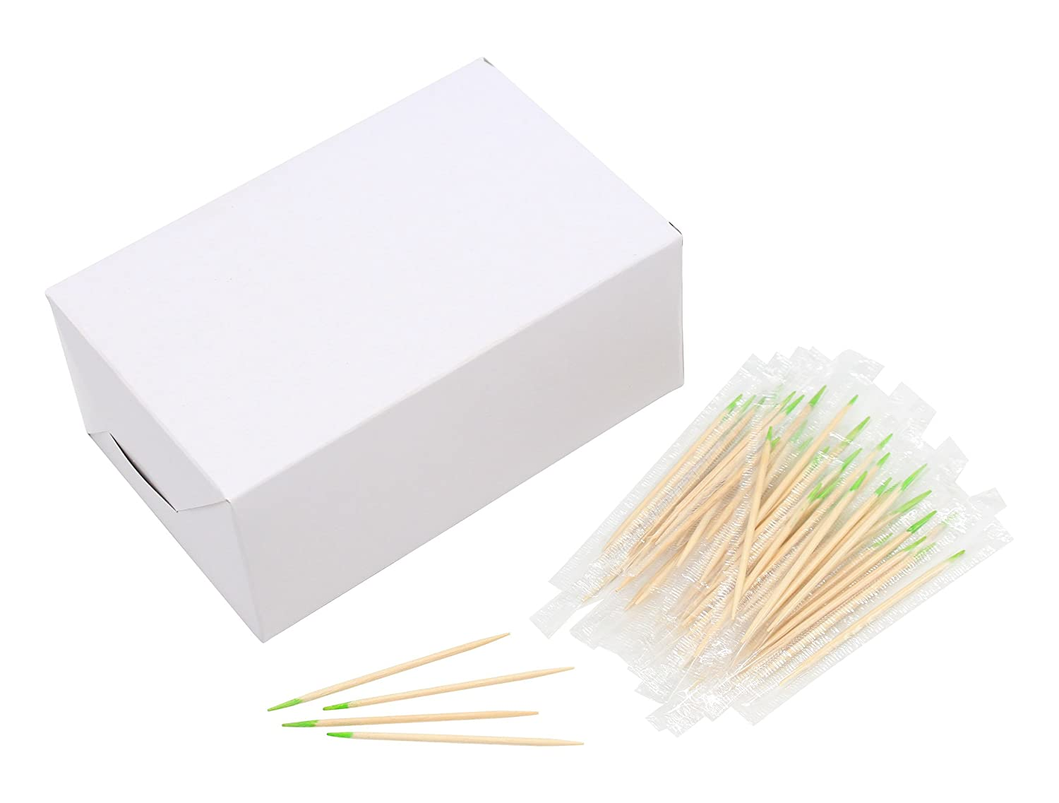 Wood Toothpick Mint Disposable Individual Cello Wrapped Wooden Toothpicks 2.6 Inch Length Package of 1000