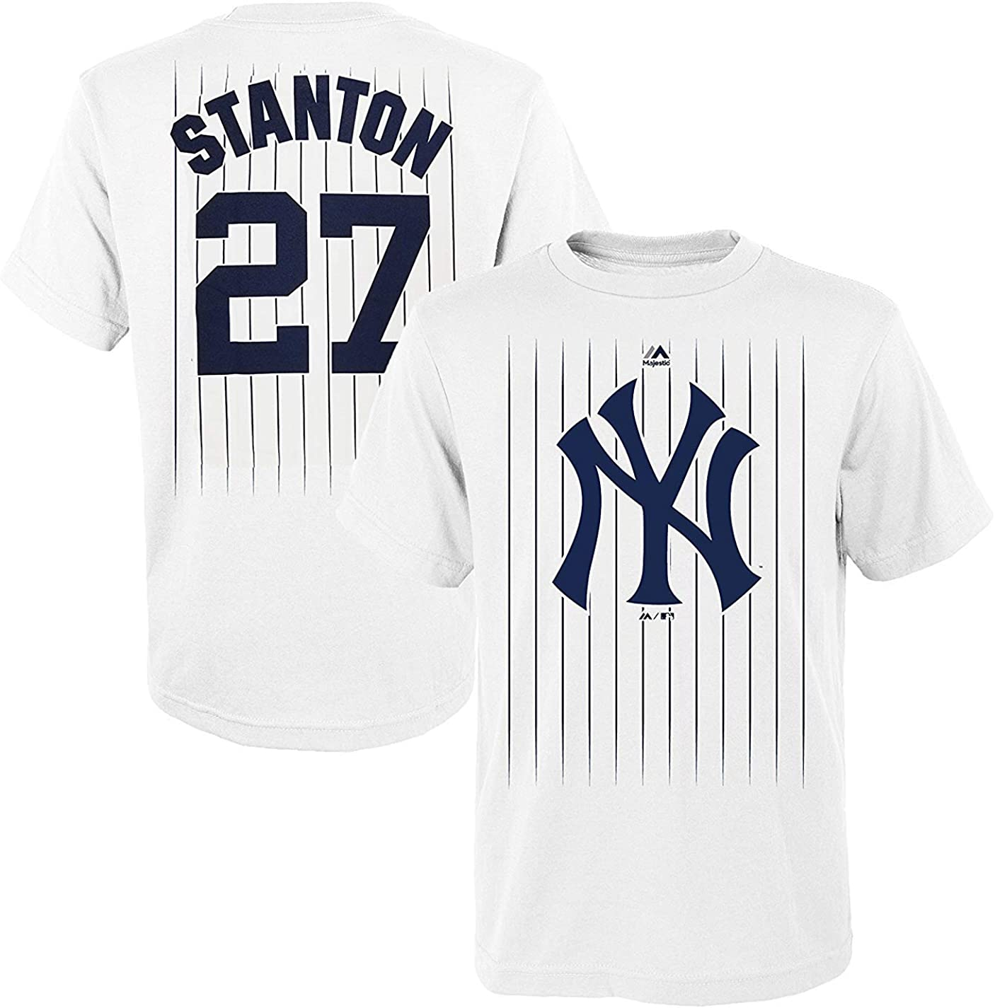 Giancarlo Stanton New York Yankees #27 White Youth Name and Number Jersey T-Shirt