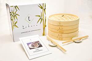 LUKARA Bamboo Steamer – Dumpling Steamer with Accessories – 10 Inch Bamboo Steamer Basket with Silicone Liners, Recipe Book, Chopsticks, Sauce Ramekins – Eco-Friendly and Durable Gift Set