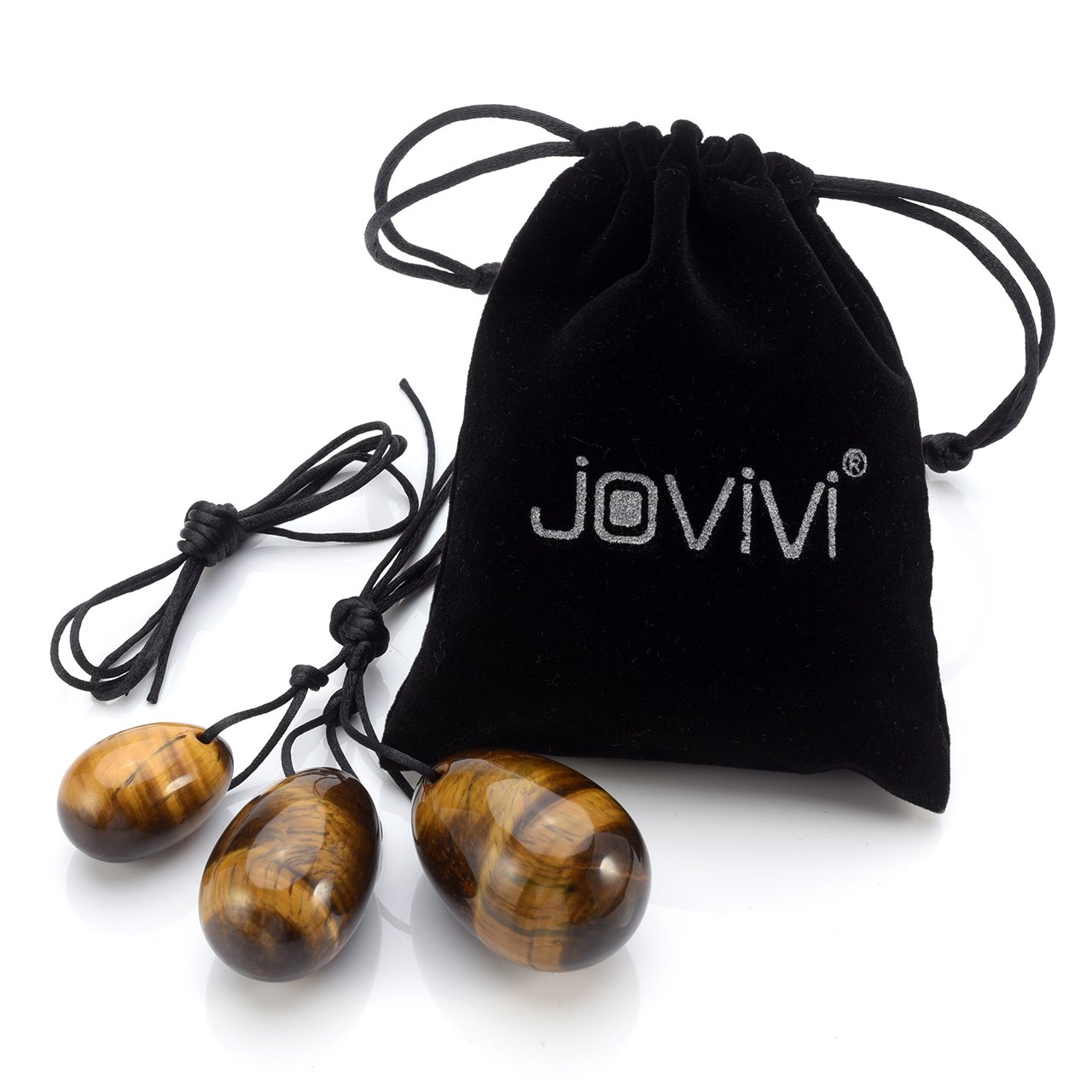 with Unwaxed String,Made of Natural Black Obsidian Jade for Yoni PC Muscles Massage AJ1010105730 Jovivi Yoni Eggs 3pcs Set with 3 Sizes Gemstones,Drilled