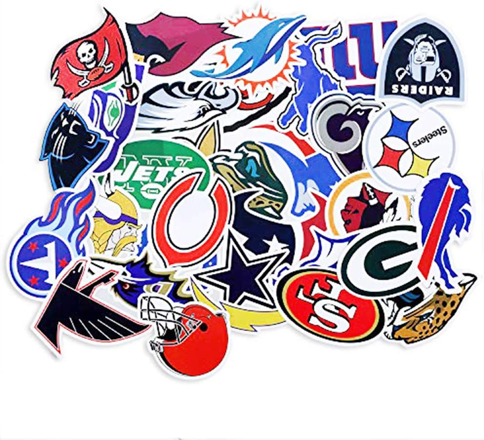 Football NFL Laptop Stickers 32 PCS for Water Bottle,Door,Window,Car,Laptop,Motorcycle,Bicycle,Luggage, Skateboard Vinyl Graffiti Stickers Decal Patches