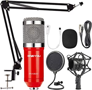 ZINGYOU Condenser Microphone Bundle, BM-800 PC Microphone Professional Cardioid Studio Mic Set with Mic Suspension Scissor Arm, Shock Mount and Pop Filter for Studio Recording & Broadcasting (Aurora R