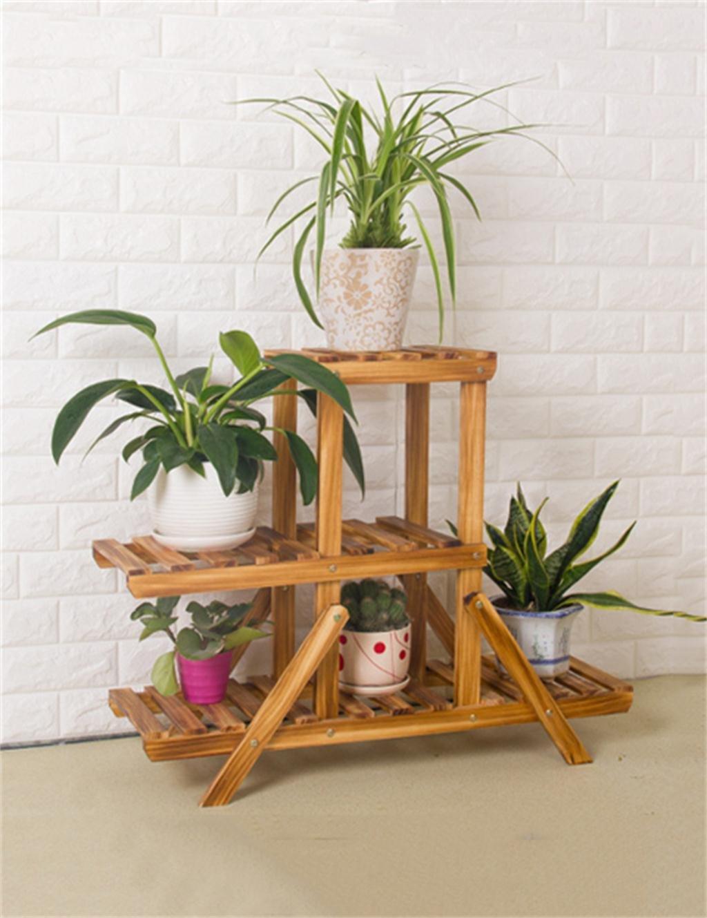 LX Multi-Tier Holzboden Blumentopf Regal, Pflanzen stehen, Blumenregal für Wohnzimmer, Balkon Bonsai-Rahmen ( größe : M )