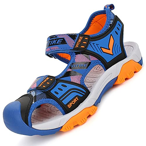 de3e75d7be45 WETIKE Kids Sandals Boys Outdoor Athletic Sandals Closed-Toe Adjustable  Two-Strap Girls Water