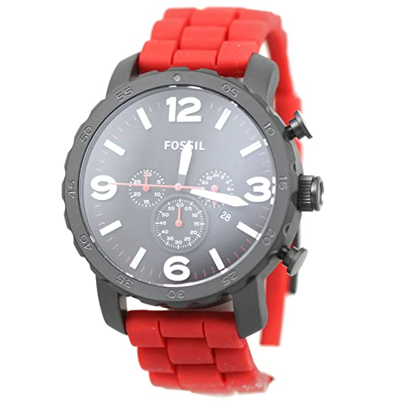 Amazon.com: Fossil Mens JR1422 Nate Chronograph Red Silicone Watch: Fossil: Watches