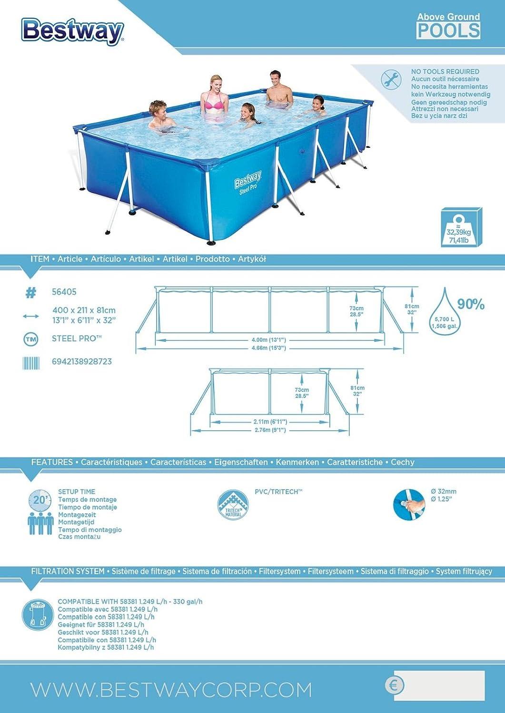 bestway steel pro frame rechteckig pool ohne pumpe blau 400 x 211 x 81 cm garten. Black Bedroom Furniture Sets. Home Design Ideas