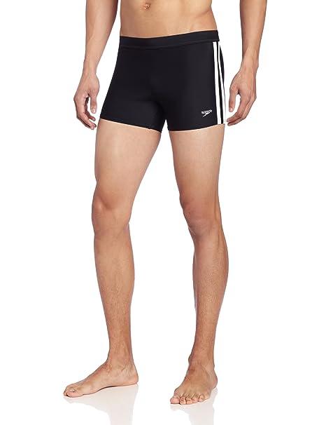8133a7367ca59 Speedo Men's Xtra Life Lycra Solid Striped Shoreline Square Leg Swimsuit,  Black, Small