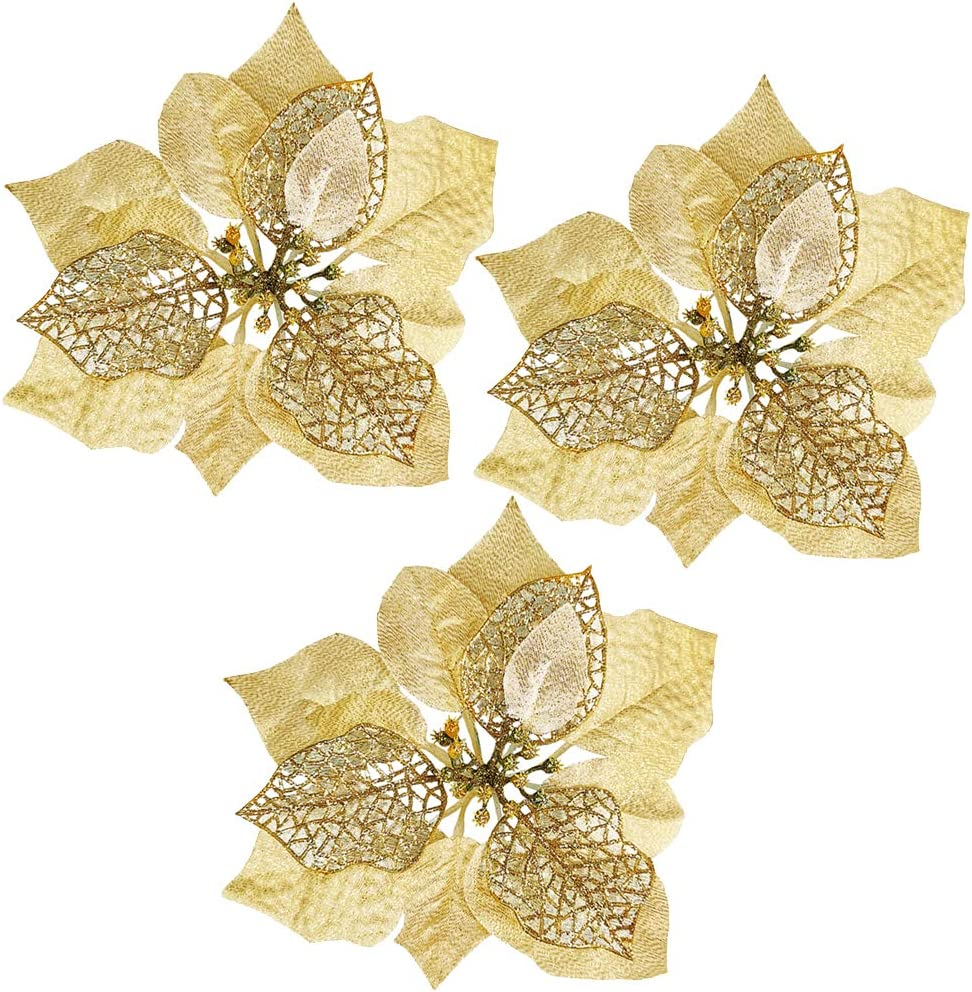 Winlyn 20 Set Christmas Gold Glitter Poinsettia Flowers Picks Christmas Tree Ornaments for Gold Christmas Tree Wreaths Garland Holiday Seasonal Festive Navidad Decoration White Gift Box Included