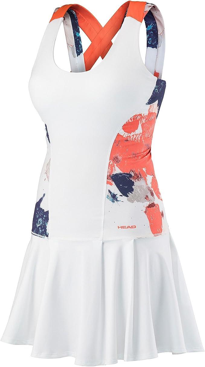 HEAD Damen, Vision Graphic Kleid Weiß, Koralle, XL Oberbekleidung