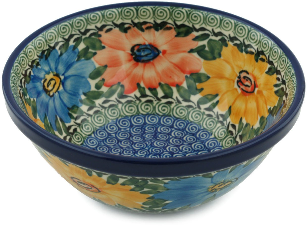 Polish Pottery Bowl 6-inch Summer Dance UNIKAT made by Ceramika Artystyczna