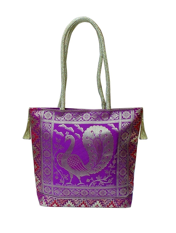 Bhamini Purple Silk Gold Kissed Benarasi Handbag