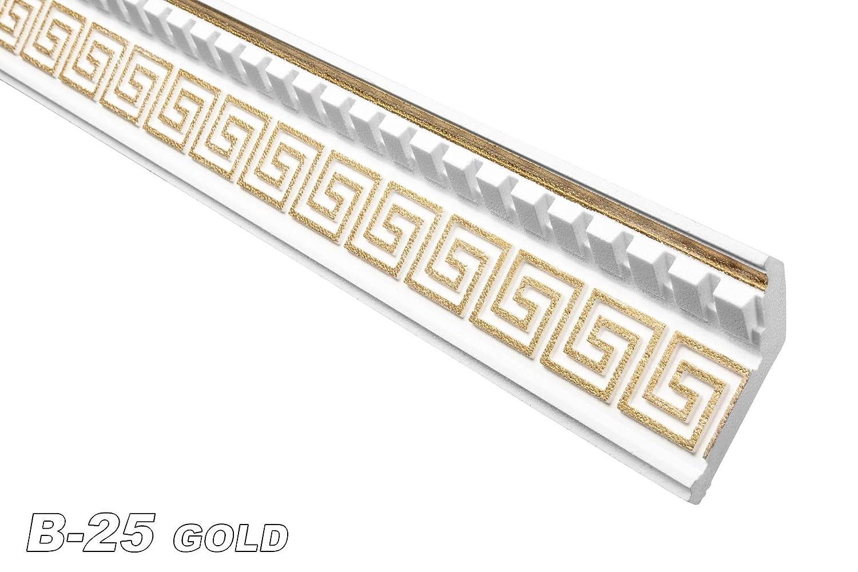 2 Metre Decorative Strip Profile Interior Polystyrene Stucco Decorative 37X100 MM, B-25 Gold Marbet Design