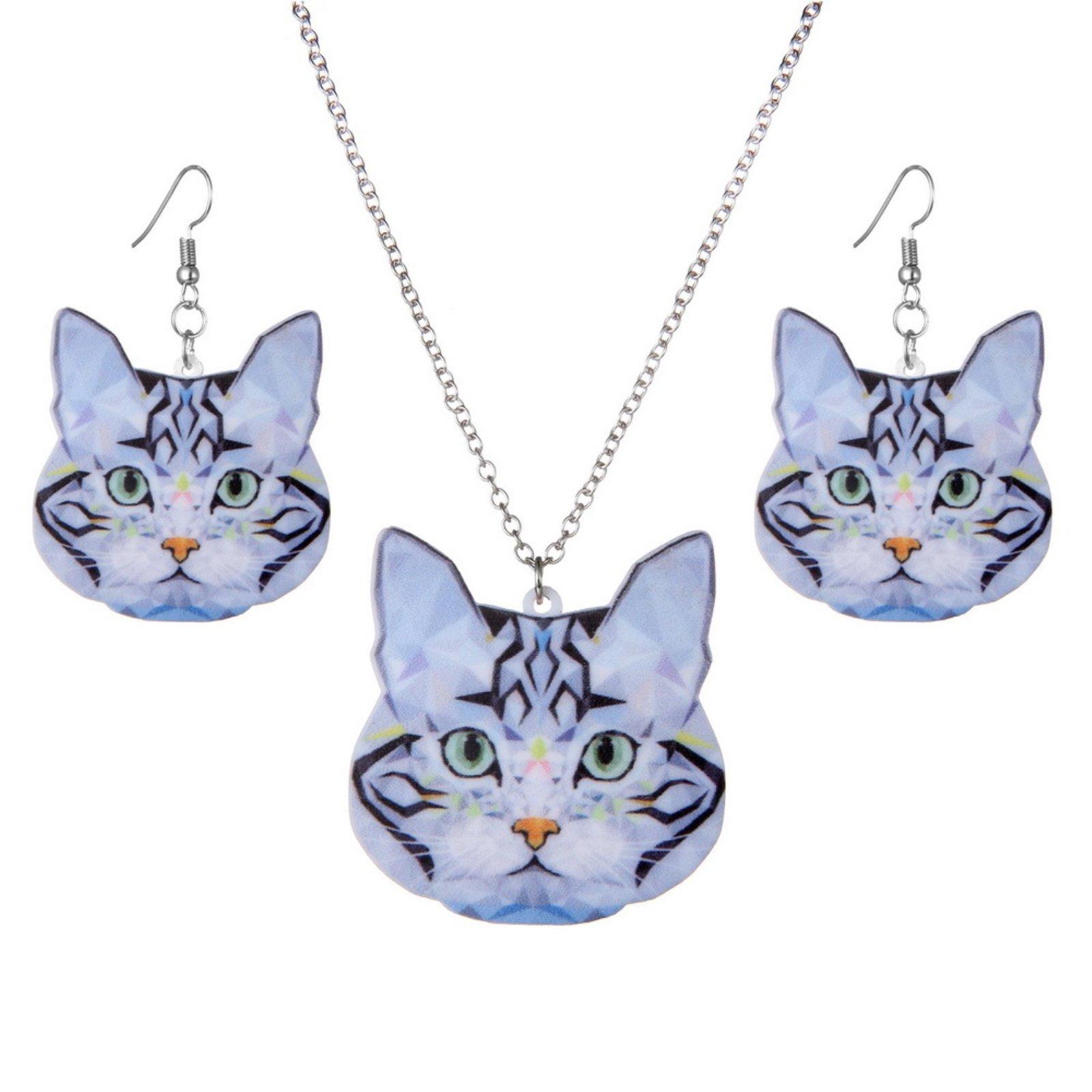 ptk12 Rinhoo Fashion Acrylic Statement Animal Cat Necklace Drop Earrings Jewelry Sets Jewelry