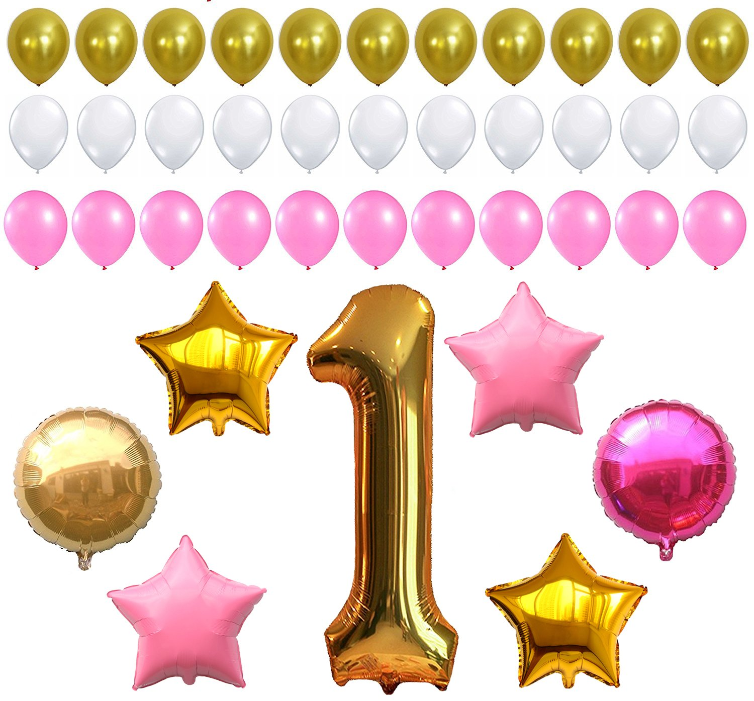 Amazon.com: FIRST BIRTHDAY DECORATION - Pink White Gold Balloons ...