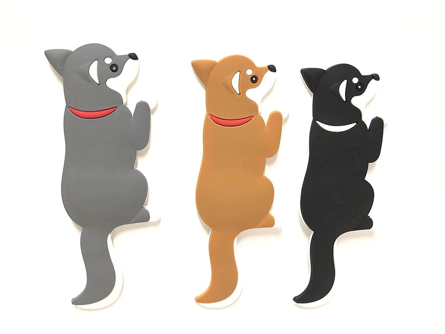 Dog Magnets.Refrigerator,Office, School & Kitchen.Tail bends for hanging Keys,Potholder,Pictures,Memos,Hangers and more.Sticks to Fridge, Whiteboard, Washing Machine, Dryer and any Magnetic Surface.