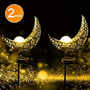 EOYIZW Solar Garden Lights, Garden Decor, Crystal Glass Globe Metal Moon Stake Light, Fairy Outdoor Decorative Light Warm White LED for Lawn, Patio, Garden, Pathway
