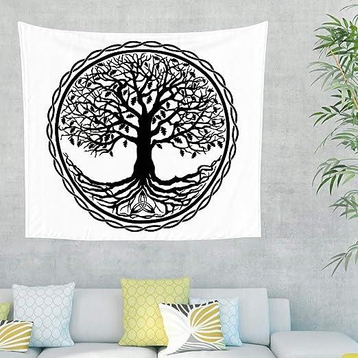 Tapiz negro y blanco con diseño de árbol celta de la vida, círculo ...