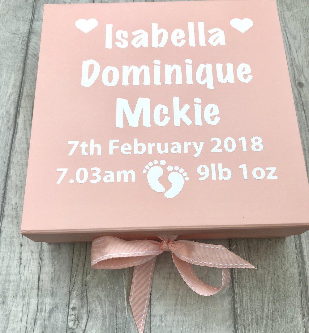 Gift Present Personalised Pink Baby Girls Memory Keepsake Ribbon Box