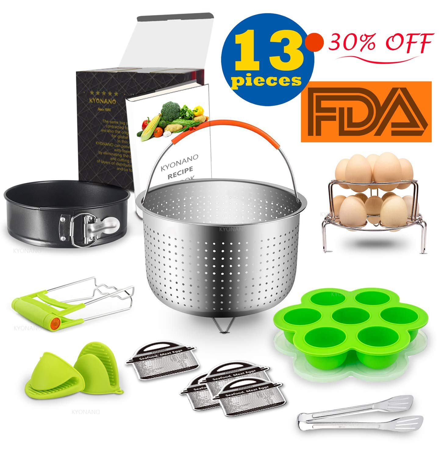 Kyonano 13 Pcs Pressure Cooker Accessories Compatible with Instant Pot 5,6,8QT, Ninja Foodi and Other Electric Pressure Cookers, Include Steamer Basket, Springform Pan, Egg Steamer Rack and More