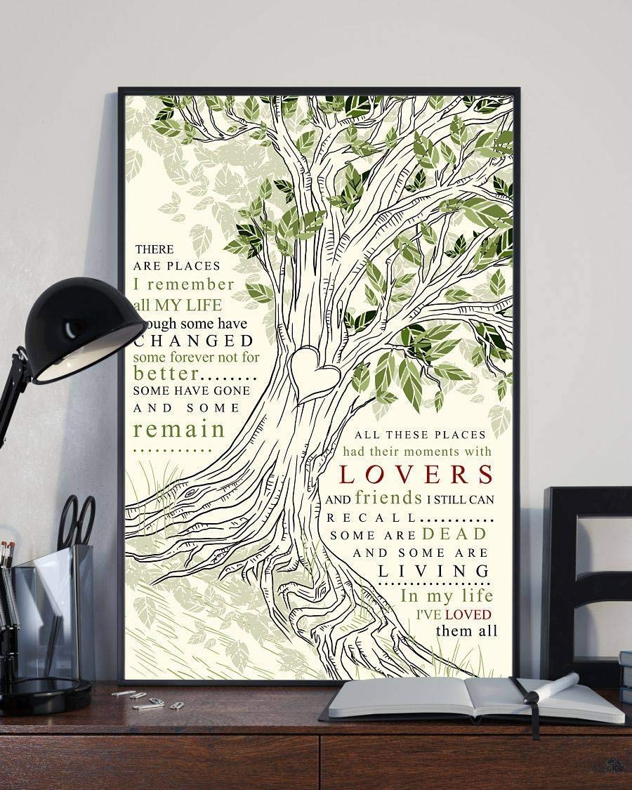 Inch x Inch There Are Places I Remember Lyrics Song Poster Beatles Lovers Poster Customized Poster Size Width x Height 12 x 18 16 x 24