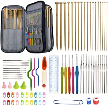 Katech 95 Pieces Knitting Accessories Ergonomic Crochet Hooks Set Bamboo Knitting Needles Kit with a Blue Storage Case - DIY Yarn Craft Weave Tools for Making Socks, Scarf, Sweaters, Gloves, Hats, Bag