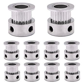 Polea de aleación de aluminio 2GT/GT2 para impresora 3D, 6 mm de ...