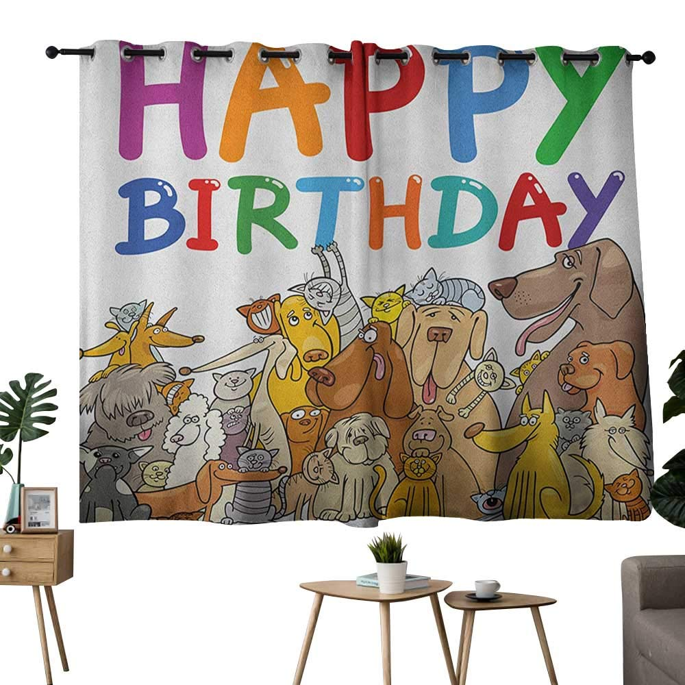 color12 42 x72 (W106cmxL182cm) NUOMANAN Curtains Kids Birthday,Party Dog at Suprise Birthday Party with Cone Hat and Glasses Photograph Fun, Multicolor,Thermal Insulated Room Darkening Window Shade 42 x45