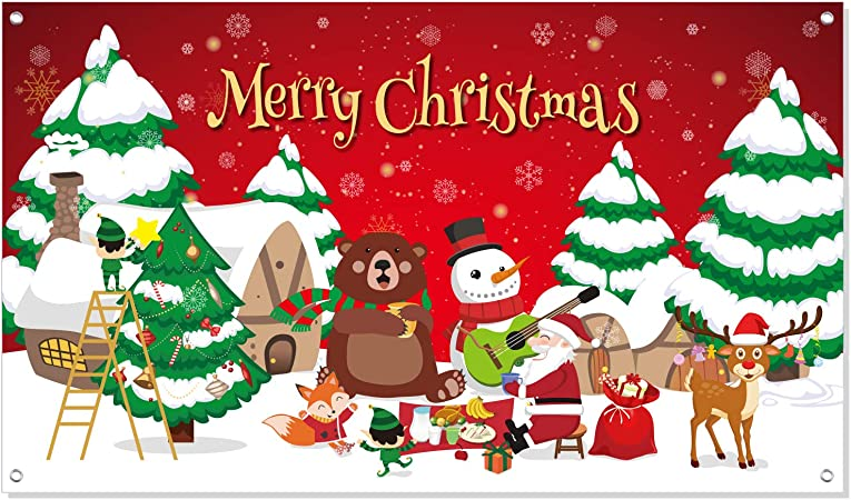 Fepito Merry Christmas Banner Extra Large Xmas Sign 70in X 41in Christmas Backdrop Banner For Xmas House Home Decorations Indoor Outdoor Christmas Party Decor Supplies Amazon Co Uk Kitchen Home Download 56,066 christmas banner free vectors. fepito merry christmas banner extra large xmas sign 70in x 41in christmas backdrop banner for xmas house home decorations indoor outdoor christmas