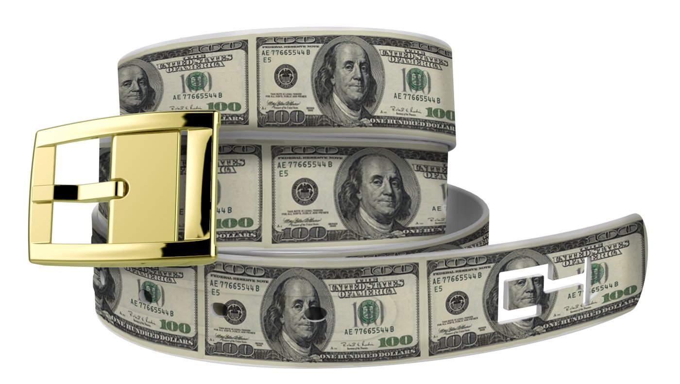 C4 $100 Bill Belt: $100 Bill Strap/Gold Chrome Buckle - Fashion Belt - Waist Belt for Women and Men