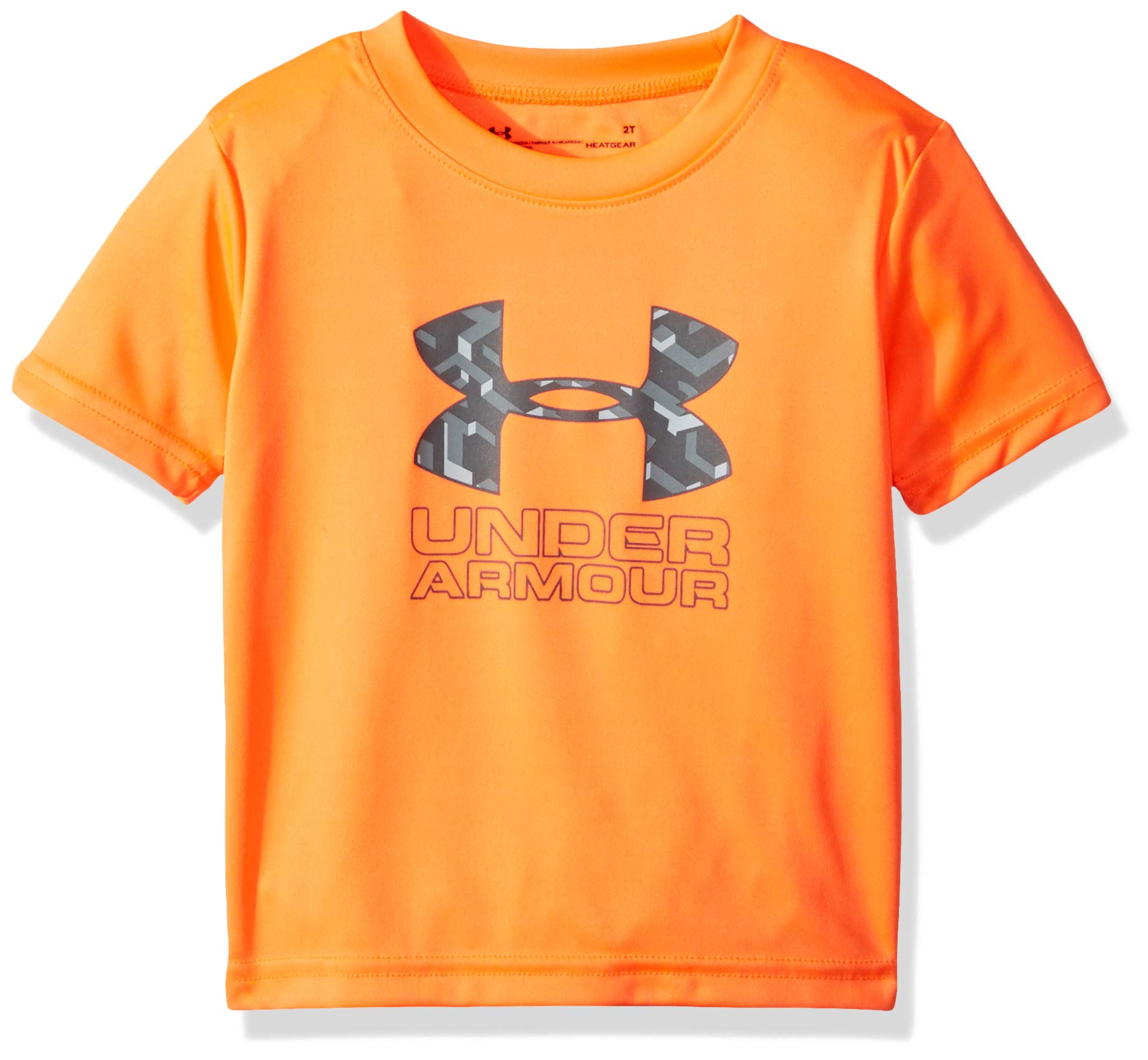 Under Armour Boys' Little Big Logo Short Sleeve Tee Shirt, Orange Glitch-S19, 6 by Under Armour