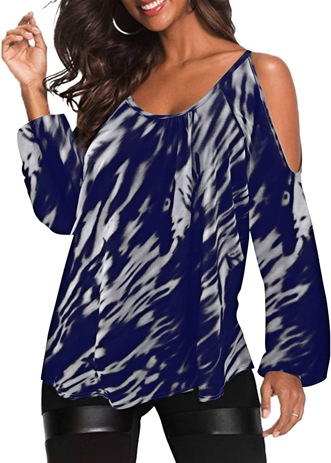 YOINS Women Cold Shoulder Tops Off Shoulder Blouses Long Sleeve Shirts Casual Round Neck Random Printed Tunic