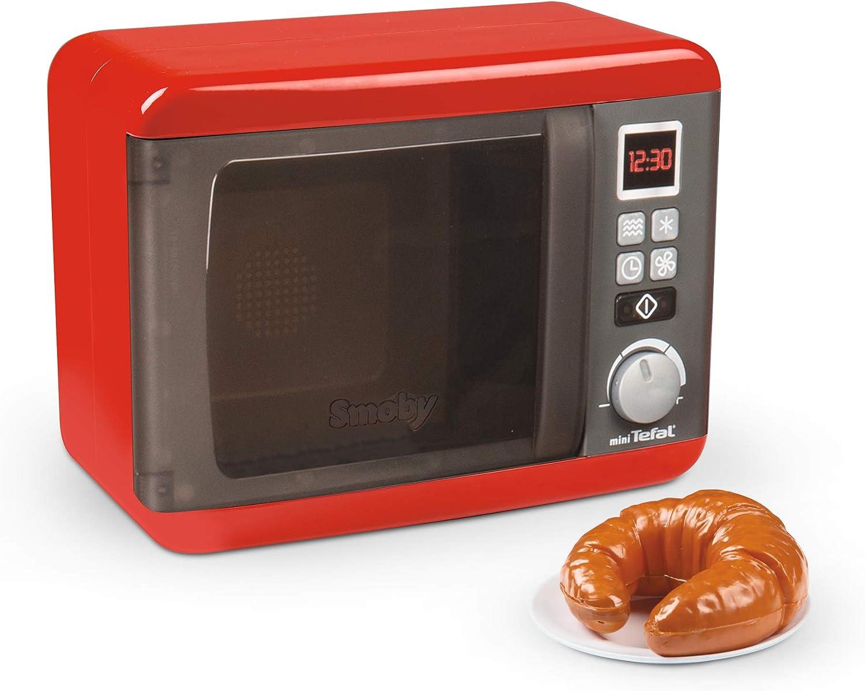 Smoby- Tefal - Microondas electrónicas, Accesorios de Cocina para niños a Partir de 3 años, Color Rojo, Gris, Plateado. (7600310586WEB)