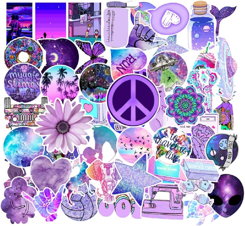 50 Pcs Street Fashion Sticker Decals for Laptops Cars Water Bottle Luggages Ipad Street Doodle Sticker Set Waterproof Sticker (Purple)
