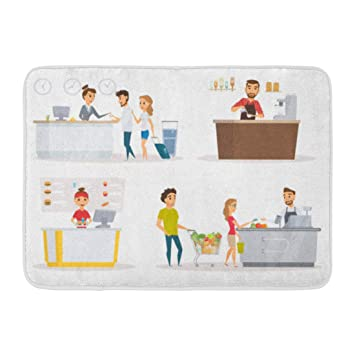ee9c0332e9c Amazon.com  Emvency Bath Mat Staff Cashier Checkout Counter Buyer ...