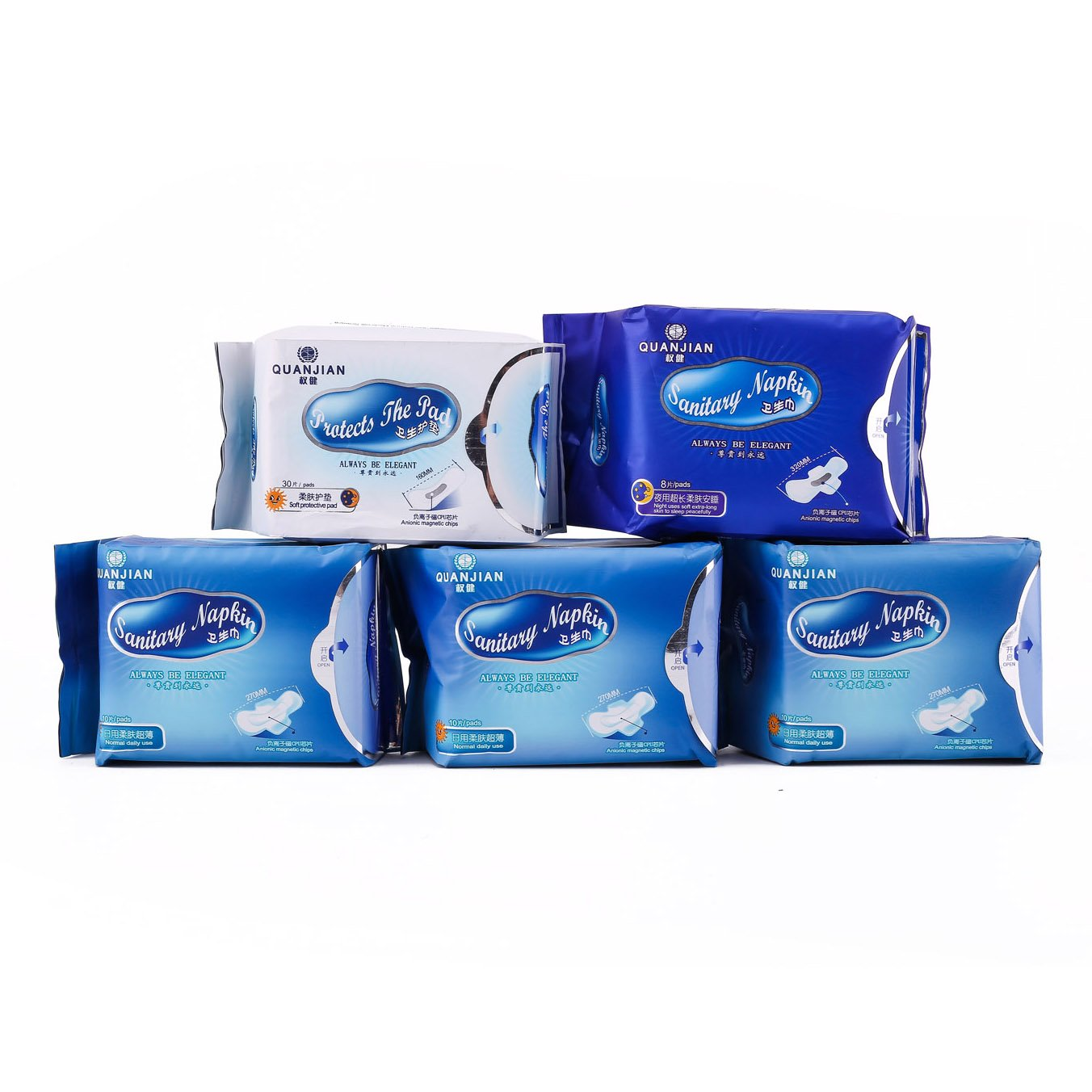 FDA APPROVED QUANJIAN Sanitary Napkins Sets Pads for Women Health Natural 5 Pack Protective Ladies Teens Daily and Night