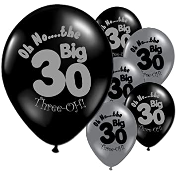 20 Black And Silver 30th Birthday Party Balloons