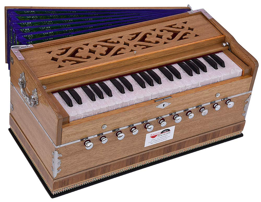 Harmonium Pro Grade By Kaayna Musicals, 11 Stop- 6 Main & 5 Drone, 3½ Octaves, Teak Colour, Flower Bellow, Coupler, Gig Bag - 440 Hz. Best for Yoga, Bhajan, Kirtan, Shruti, Mantra, Meditation, Chant by Kaayna Musicals