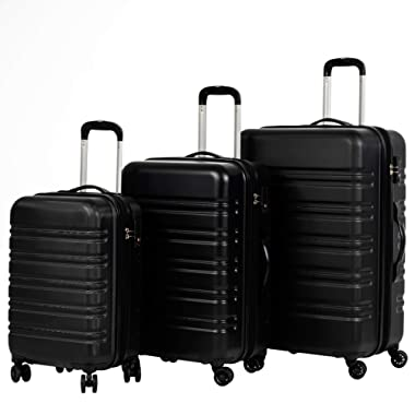 Murtisol 3 Pieces Expandable ABS Luggage Sets TSA Lightweight Durable Spinner Suitcase 20  24  28 , 3PCS Black