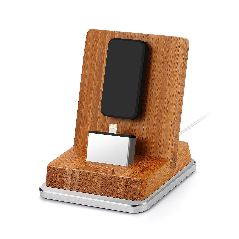 Komost Bambus iPhone Dockingstation, Ladestation Stehen mit Aluminium Basis fü r iPhone 8 Plus / 8, iPhone X, iPhone 7 Plus / 7, iPhone SE, 6S Plus / 6S / 6 Plus / 6, 5S / 5, iPad, iPad Air, iPad Mini