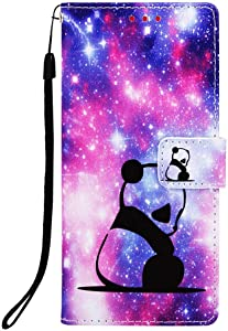 Aiyze For Apple iPhone 7 Plus / 8 Plus / 6s Plus / 6 Plus Case PU Leather Wallet Phone Case [Kickstand Wrist Strap Credit Card Slot] Magnetic Closure Stand Flip Full Body Protective Cover (Panda Baby)