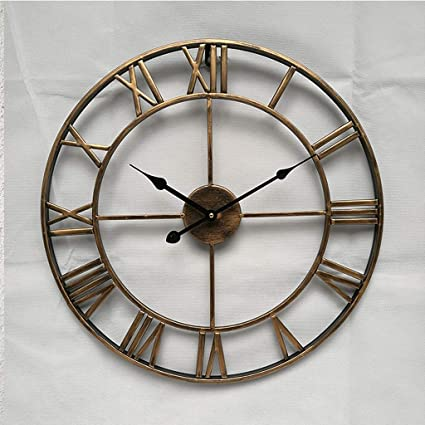 31fb70e04cd Image Unavailable. Image not available for. Color  18.5 Inch Oversized 3D  Iron Decorative Wall Clock Retro Big Art Gear Roman Numerals ...