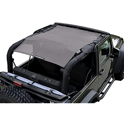 ALIEN SUNSHADE 2-Door Jeep Wrangler Mesh Shade Top Cover with 10 Year Warranty Provides UV Protection for Your JK (2007-2020) (Gray): Automotive