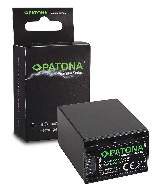 PATONA Premium Bateria Compatible con Sony NP-FV100 FDR-AX40 FDR-AX45 FDR-CX680 NEX-VG30 3090mAh