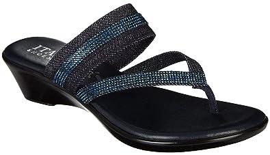 d90e4e5e805d2 ITALIAN Shoemakers Womens Twist 2 Sandals 6 Denim Blue Black
