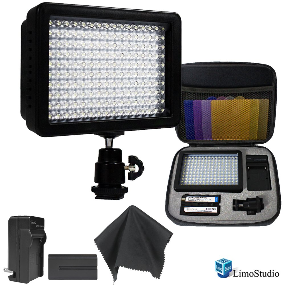 Limo160 Led Lamp Panel Dimmable For Dslr Camera Dv Camcorder With Hard Carry Case & Black Superfiber Lens Cleaning Cloth by LimoStudio